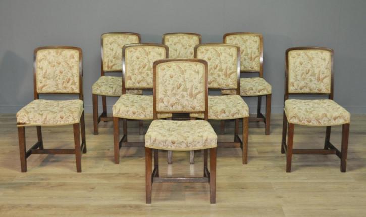 8 Stk englische edwardianische Stühle Eiche Küchenstühle original antik ca 1890
