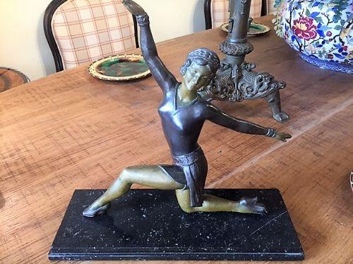 WunderschöneAntike Französisiche Bronze Molins Balleste Tänzerin ca. 1920