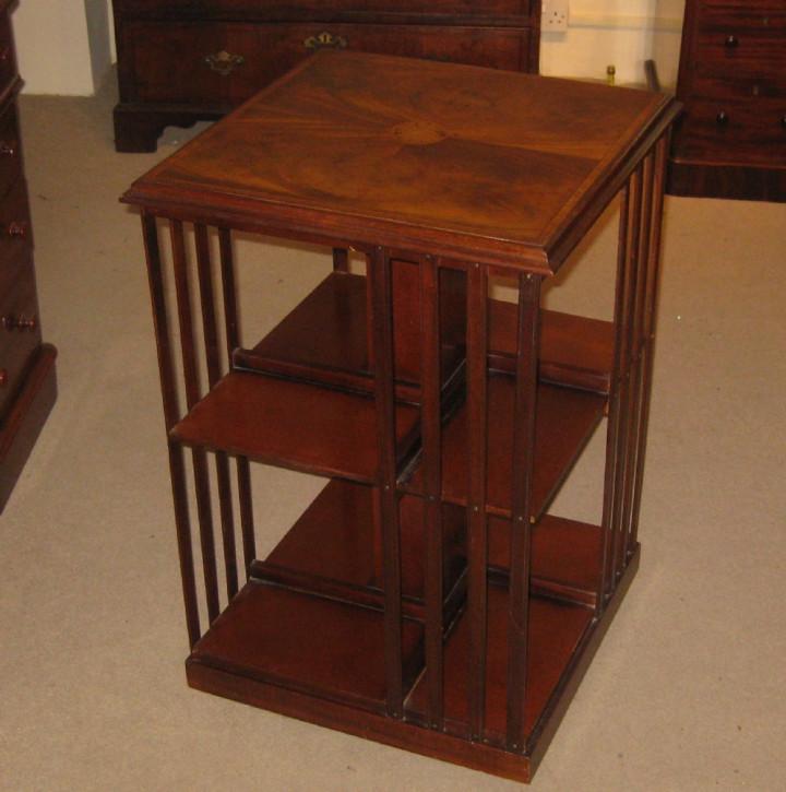 Original englisches edwardianisches Mahagoni Revolving Bookcase antik ca 1910