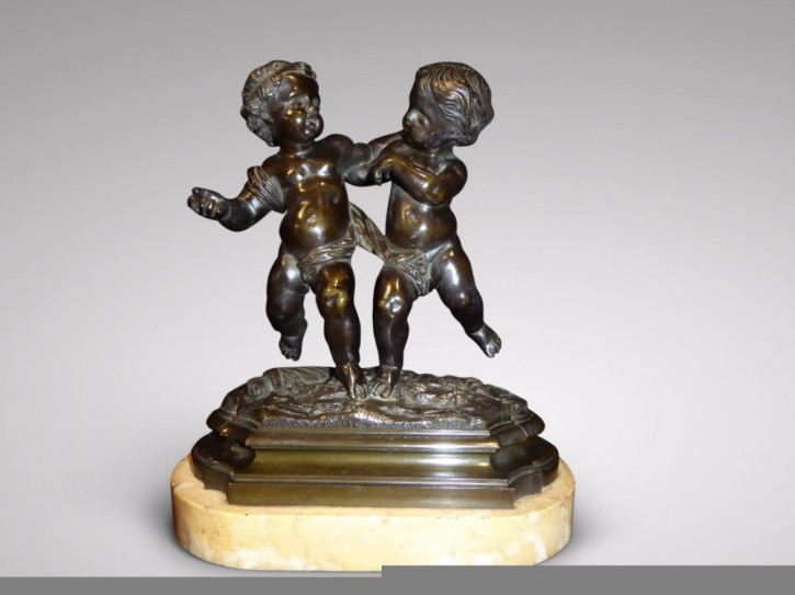 Französische Antike Bronze Skulptur Amor und Putto ca. 1880
