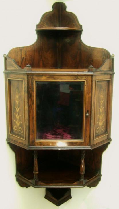 Viktorianische Antike Englische Palisander Eckvitrine ca. 1860