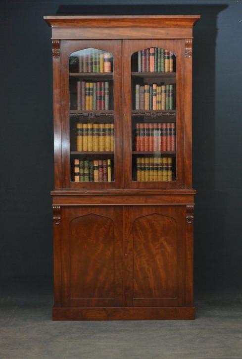 Englisches William IV Antikes glasiertes Mahagoni Bücherregal ca. 1830