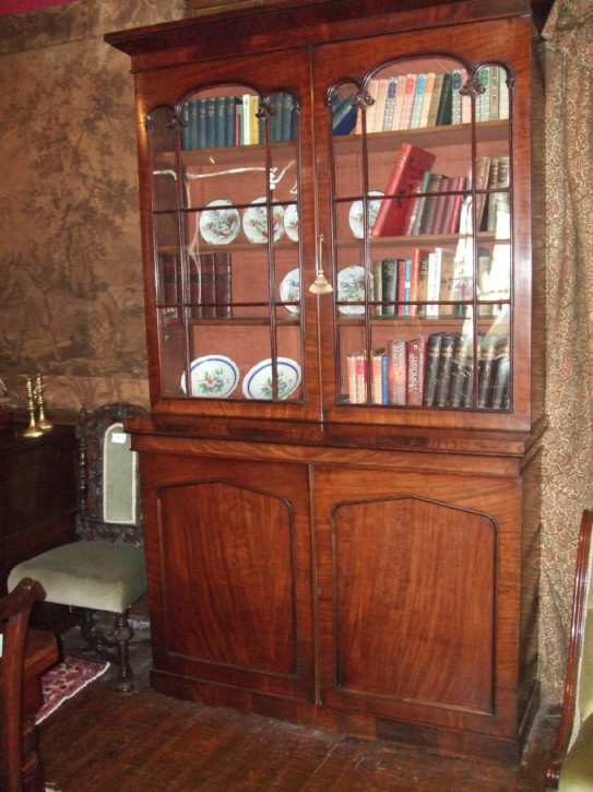 Original Antiker Englischer Viktorianischer Mahagoni Bibliotheken Bücherschrank ca. 1860