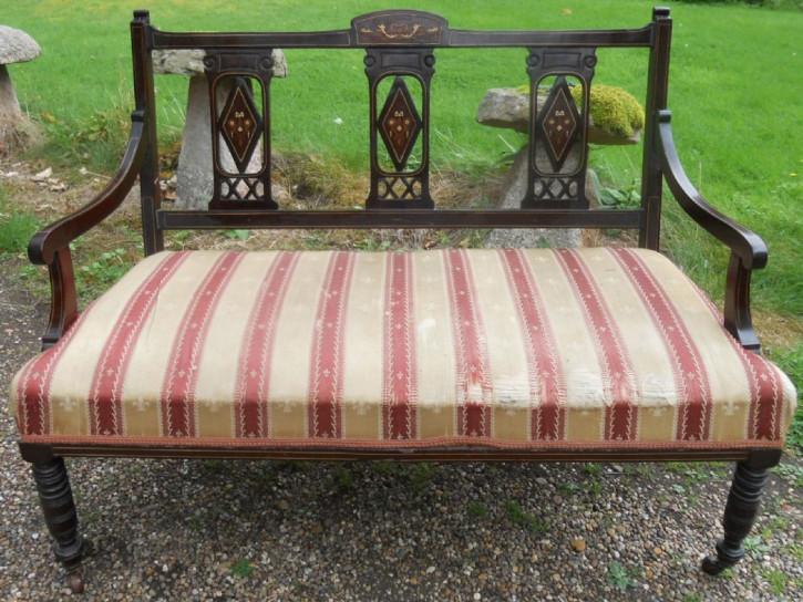 Antikes Englisches Edwardianischen Mahagoni zweisitzer Sofa ca. 1900