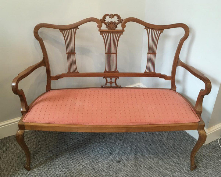 Englisches Edwardianischen Mahagoni Zweisitzer Sofa ca. 1900