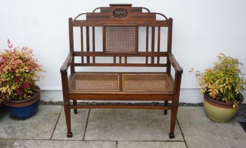 Antikes Englisches Arts & crafts Eichen Zweisitzer Sofa ca. 1910