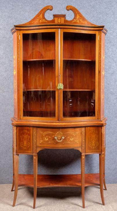 Englischer Antiker Edwards & roberts Mahagoni Bücherschrank mit Sekretär ca. 1890