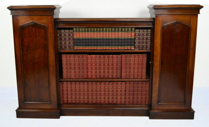 Viktorianisches Englisches Antikes Mahagoni Breakfront Bücherregal ca. 1850