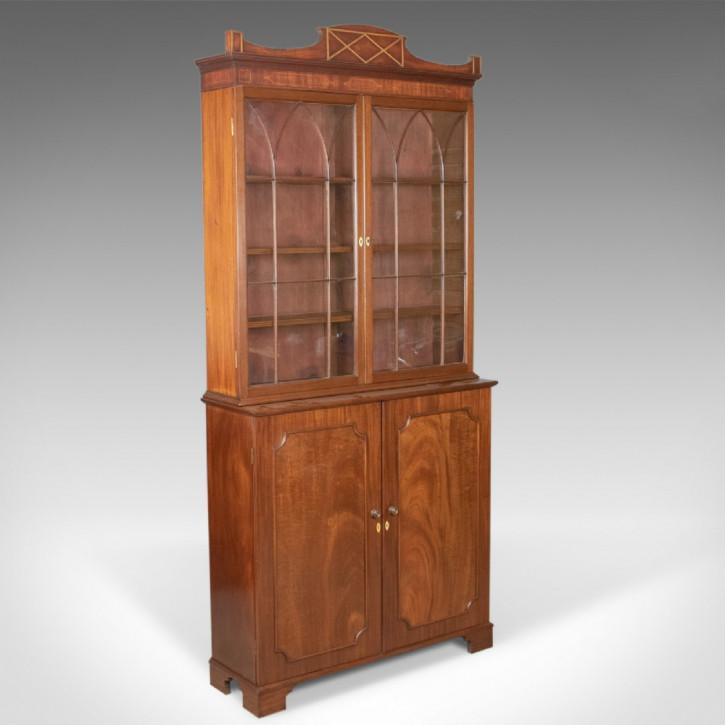 Viktorianisches Englisches Antikes glasiertes Mahagoni Bücherregal ca. 1900