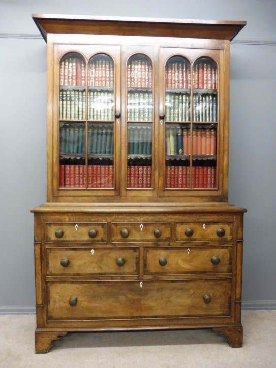 Antikes Englisches Mahagoni verglastes Bücherregal ca. 19. JH.