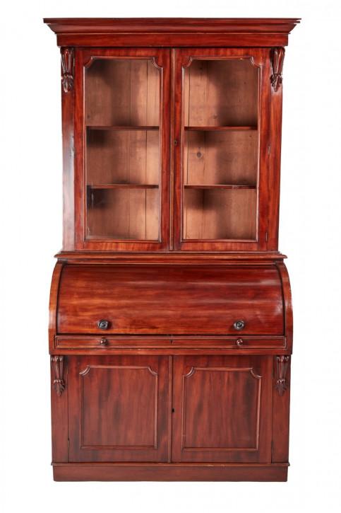 Viktorianisches Antikes Englisches Mahagoni Sekretär Bücherregal ca. 1860
