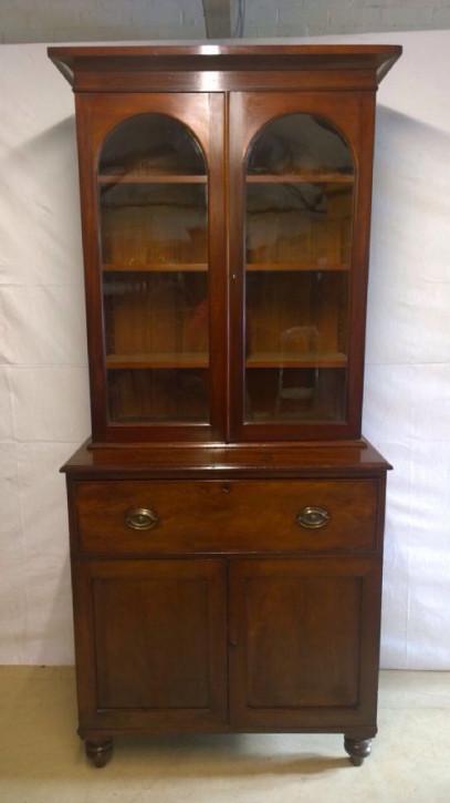 Antikes Englisches Mahagoni Sekretär Bücherregal ca. 1800
