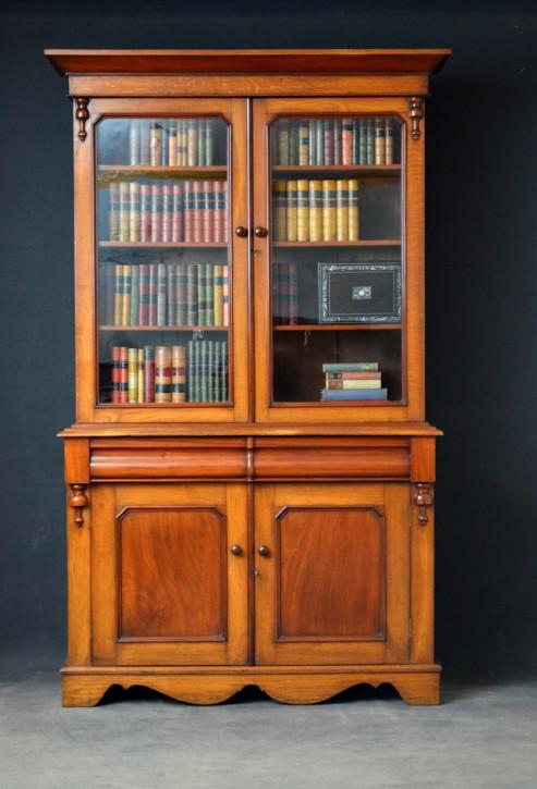 Englischer Viktorianischer Antiker Eichen Mahagoni Bücherschrank ca. 1870