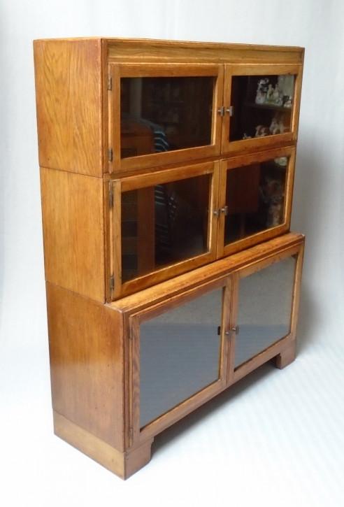 Antikes Englisches verglastes Eichen Bücherregal ca. 1920