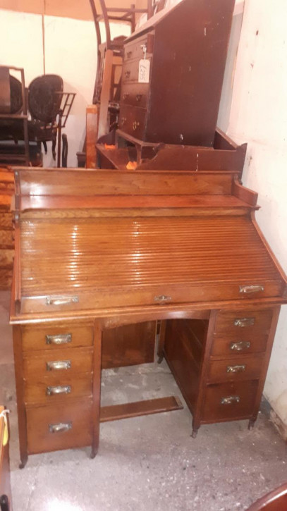 Antiker englischer Massivholz Sekretär Cylinder Desk ca 1900