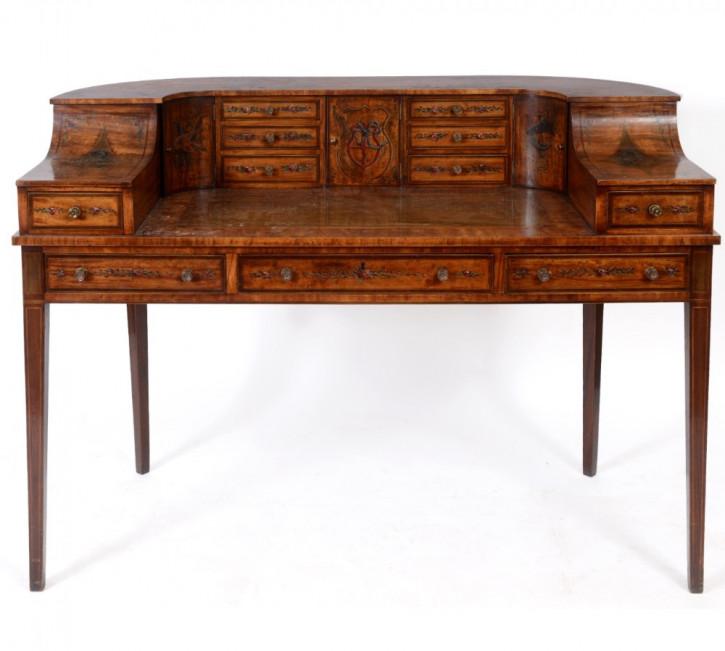 Edwardianischer Antiker Englischer Carlton Schreibtisch ca. 1900