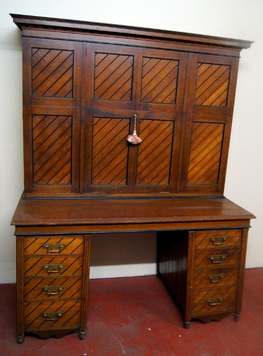 Arts and Crafts Schreibtisch Eiche Schrank Massivholz antik ca 1890
