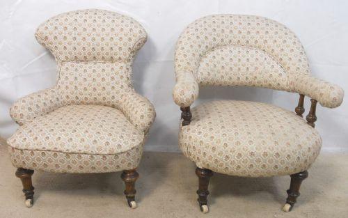 Antike Viktorianische Englische gepolsterte Stühle ca. 1860