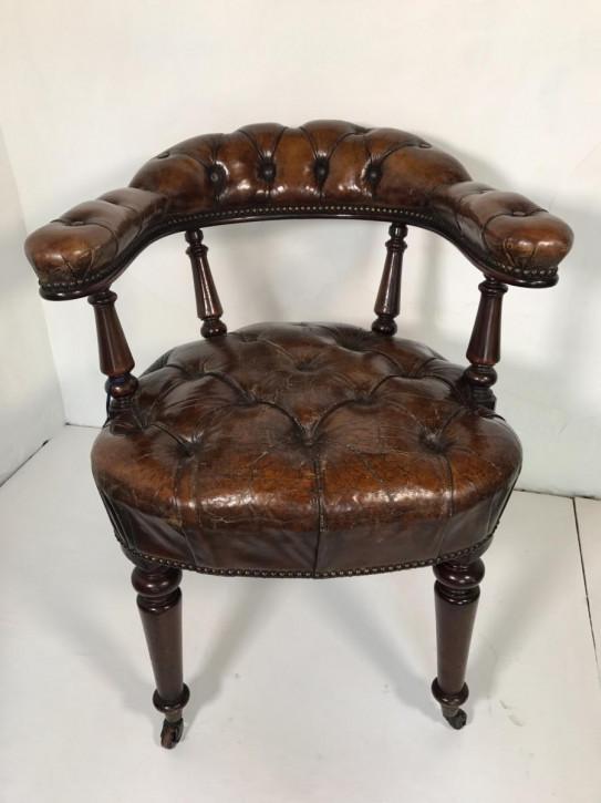 Antiker Englischer Mahagoni Leder Bibliotheken Sessel ca. 1860