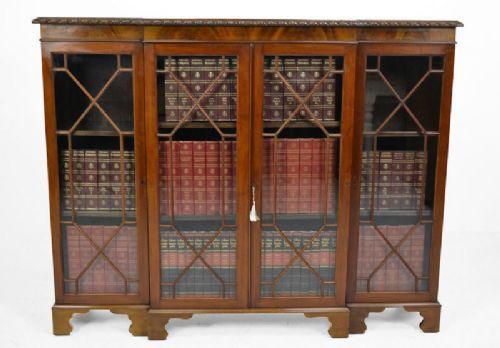 Antikes Englisches Mahagoni Breakfront verglastes Bücherregal ca. 1900