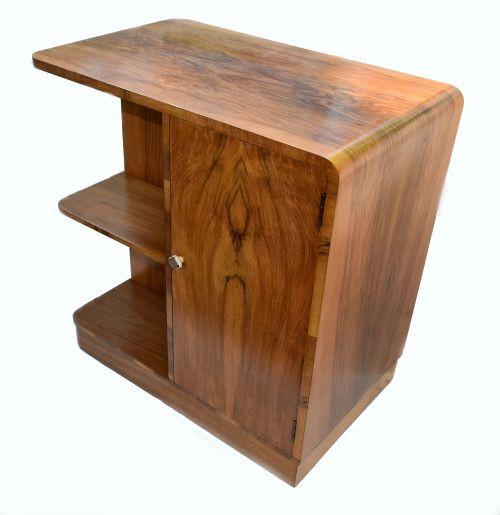 Englischer Antiker Art Deco Nussbaum Bücherregal Tisch ca. 1930
