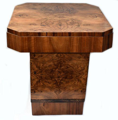 Antiker Englischer Art Deco Nussbaum Tisch ca. 1930