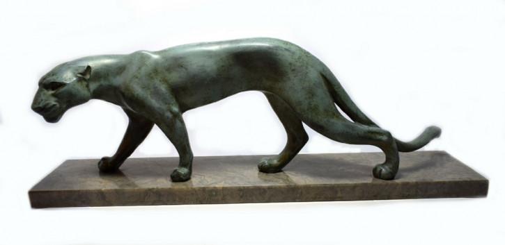 Französische Antike Art deco Figur Panther von M. Font ca. 1930