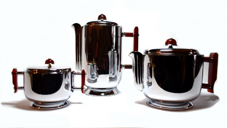 Art deco Antikes Deutsches Chrome WMF Tee Kaffe Set ca. 1930