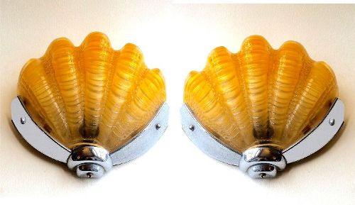 Englisches Antikes Paar gelber Art Deco Muschel Wandleuchten ca. 1930