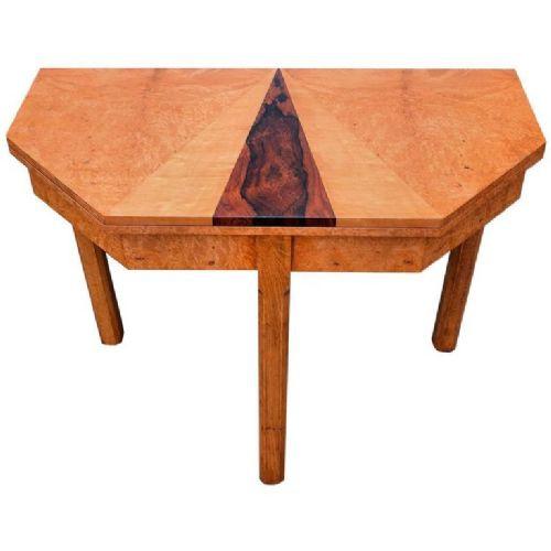 Englischer Antiker Art Deco ausklappbarer Nussbaum Tisch ca. 1930