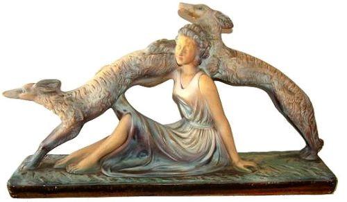 Französische Antike Art Deco Frauen Figur ca. 1930