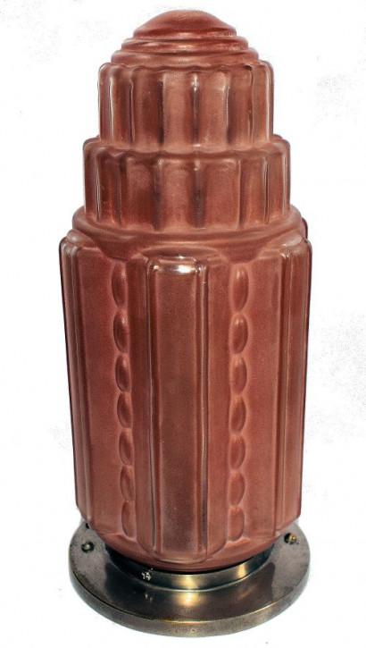 """Antike Art Deco Deckenlampe Glas """"Wolkenkratzer"""" ca 1930"""