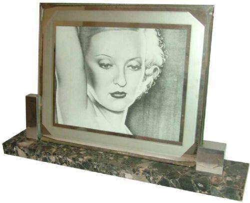 Antiker Art Deco Bilderrahmen Chrom Marmor ca 1930