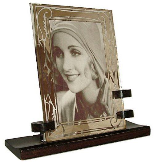 Antiker Art Deco Bilderrahmen Ebenholz Spiegelglas französisch ca 1930