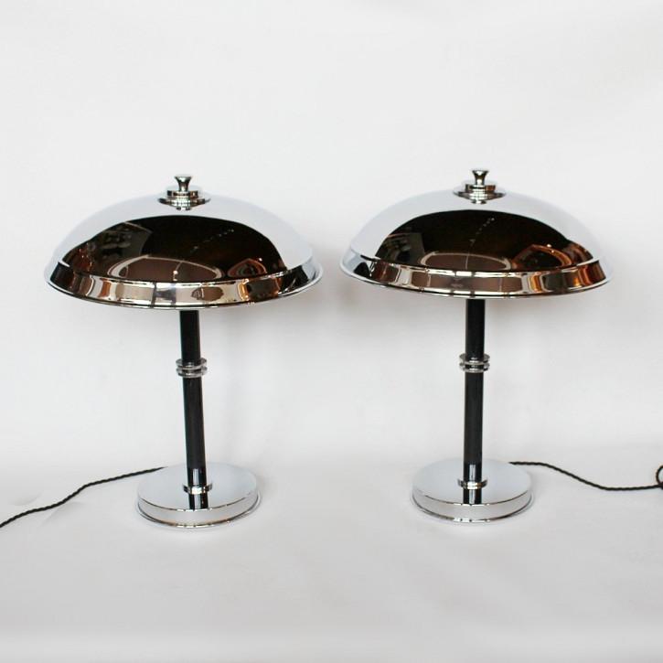 Antike Art Deco Tischlampen Chrom Bakelit englisch ca 1930