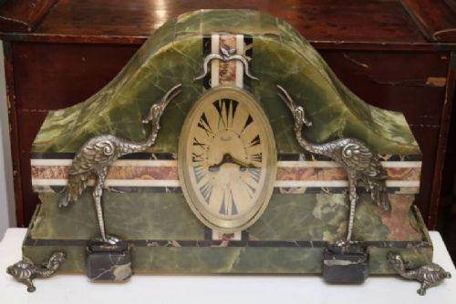 Französische Art Deco Kaminuhr Onyx antik 1920-30