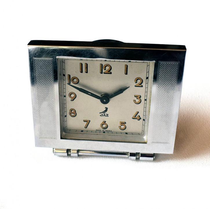 Französische antike Art Deco Uhr Wecker Chrom ca 1930