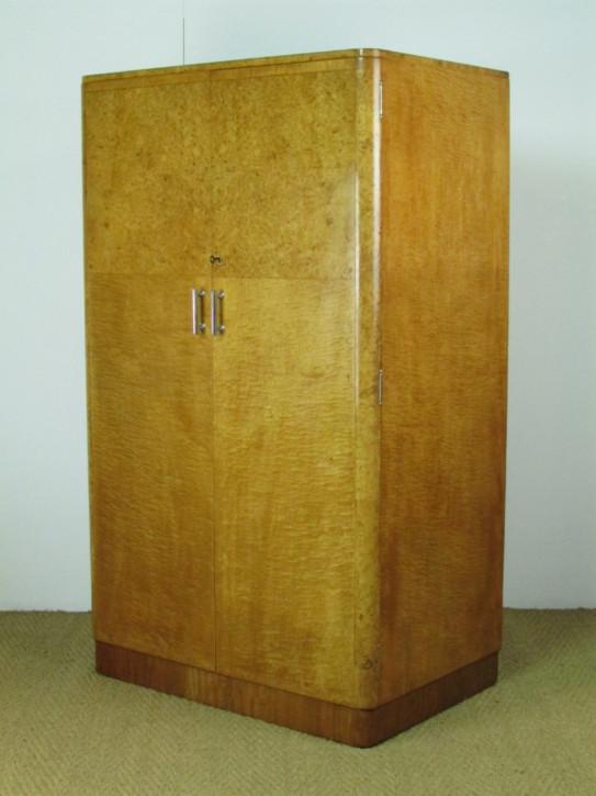 Antiker englischer Art Deco Ahorn Kleiderschrank ca 1930