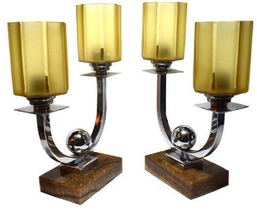Antike französische Art Deco Tischlampe Glas Chrom Marmor ca 1930