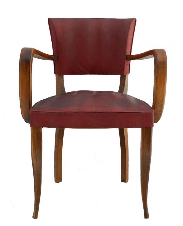 Französischer Art Deco Stuhl Küchenstuhl antik Leder ca. 1930