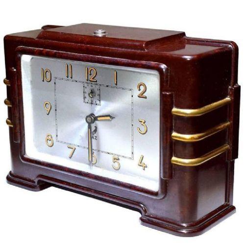 Antike französische Art Deco Bakelit Uhr Tischuhr ca 1930
