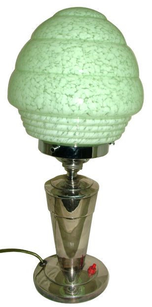 Original antike Art Deco Tischlampe Chrom ca 1930