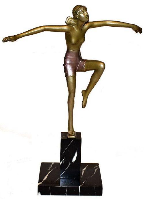 """Antike Art Deco Bronzefigur Teilakt Figur """"Tänzerin"""" ca 1930"""