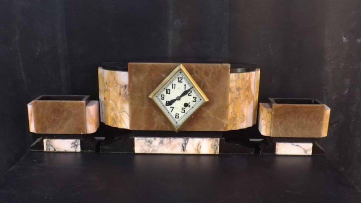 Antike Art Deco Kaminuhr Marmor englisch ca 1920