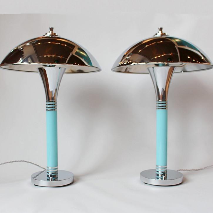 Antike Art Deco Tischlampen Chrom ca 1930