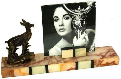 Art Deco Marmor Bilderrahmen antike Bronzefigur französisch ca 1930