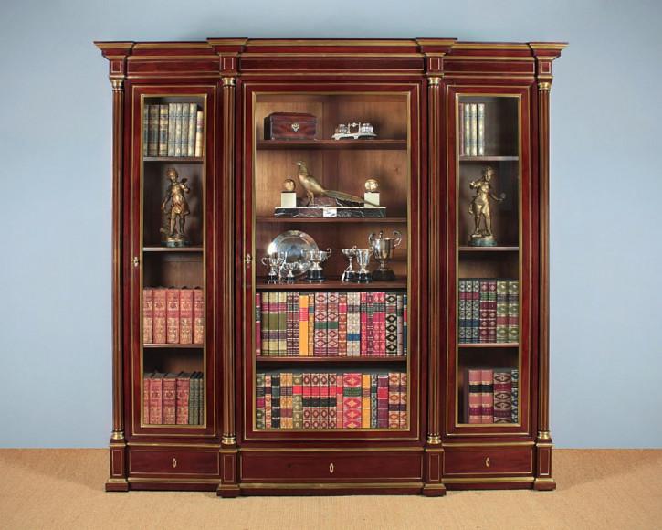 Französisches Antikes Mahagoni Messing Bücherregal ca. 1900