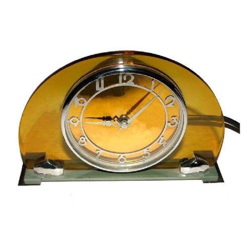Englische Antike Art Deco Modernistische gelbe Chrom Uhr ca. 1930