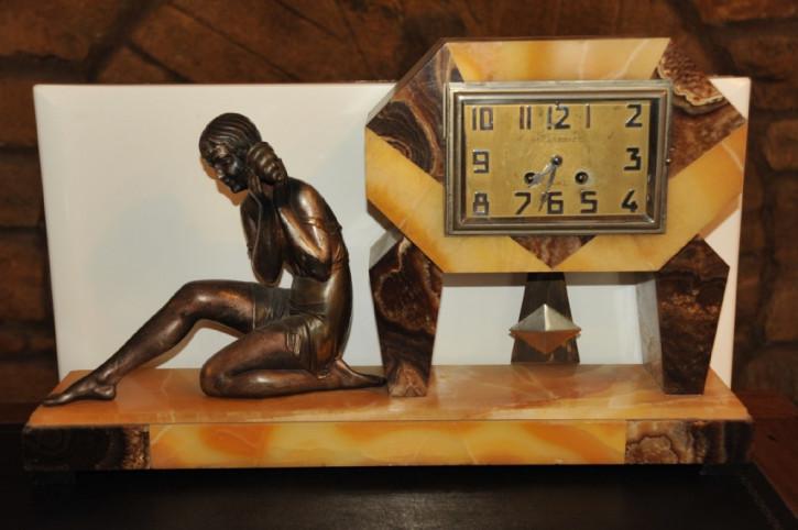 Art deco Englische Antike Spalter Marmor Uhr ca. 1930