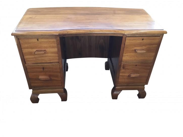 Art Deco Antiker Englischer Mukwa-Holz Schreibtisch ca. 1930